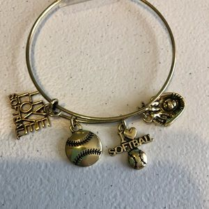 Gold toned softball charm bracelet!!
